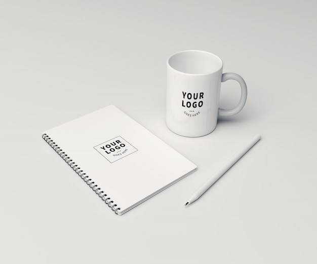 Perspective block note with coffee mug mockup Premium Psd