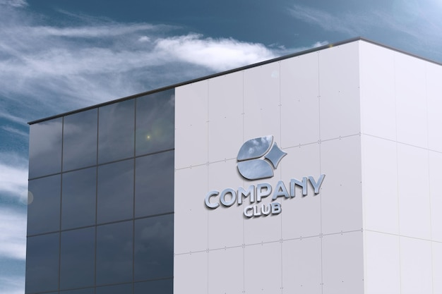 Perspective logo on modern large building - signboard mockup Free Psd