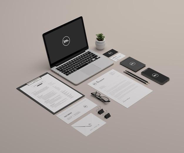 관점 편지지 및 브랜딩 이랑 디자인 절연 프리미엄 PSD 파일