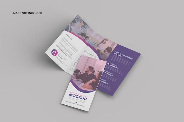 パースペクティブ三つ折りパンフレットモックアップ Premium Psd