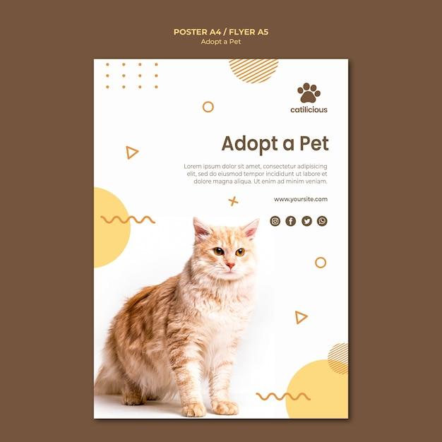 애완 동물 입양 전단지 디자인 무료 PSD 파일