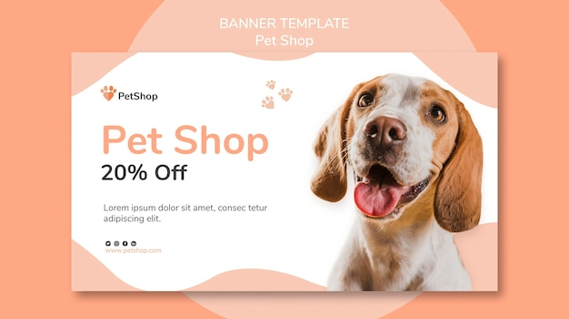 Pet shop banner template Free Psd