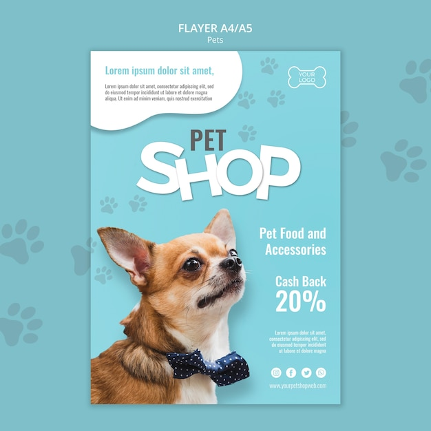 Pet shop flyer template with photo Free Psd