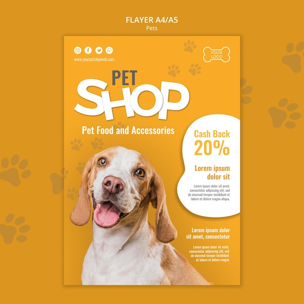 Pet shop flyer template Free Psd