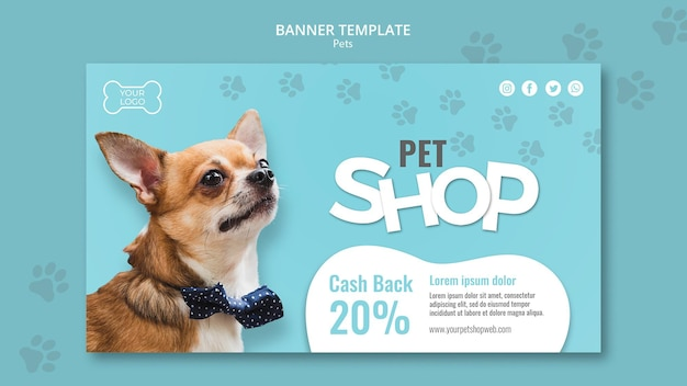 Pet shop horizontal banner template Free Psd
