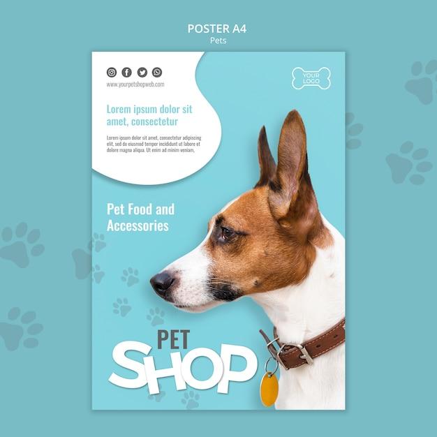 Pet shop poster a4 template Free Psd