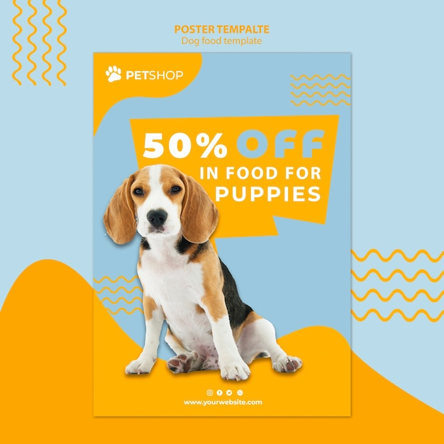 Pet shop poster template concept with dog food Free Psd
