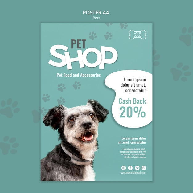 Pet shop poster template with photo of dog Premium Psd