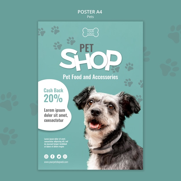 Pet shop poster template with photo of dog Free Psd