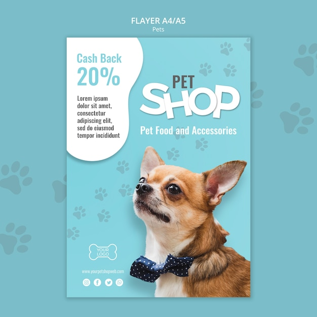 Pet shop poster template with photo of small dog Free Psd