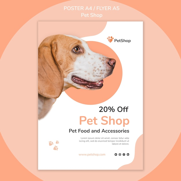 Pet shop poster template Free Psd