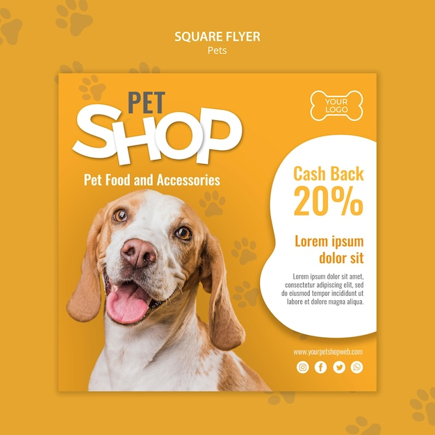 Pet shop square flyer template with photo Free Psd