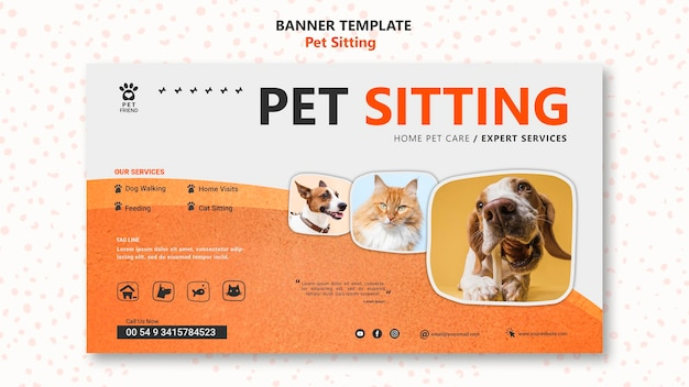Pet sitting concept banner template Free Psd