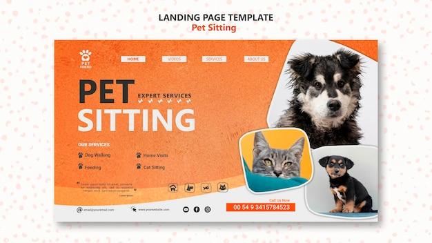Шаблон целевой страницы концепции сидения домашних животных Бесплатные Psd