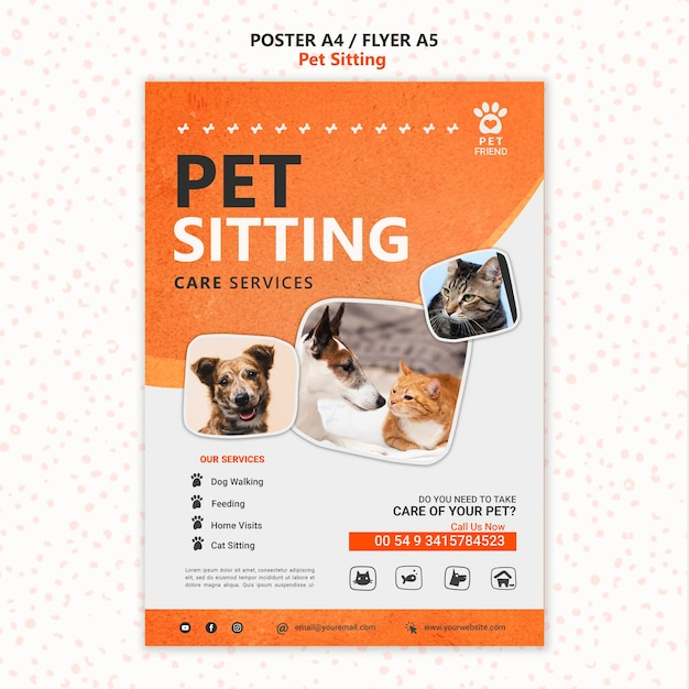 Pet sitting concept poster template Free Psd
