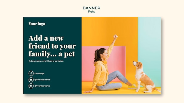 Шаблон баннера домашних животных Бесплатные Psd