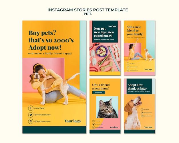 Истории инстаграм домашних животных Бесплатные Psd