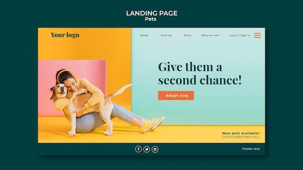 Дизайн целевой страницы домашних животных Бесплатные Psd