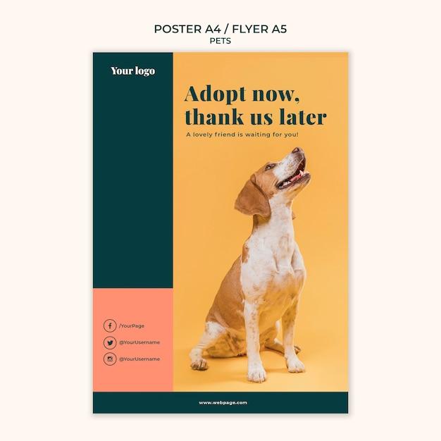 Дизайн шаблона плаката домашних животных Бесплатные Psd
