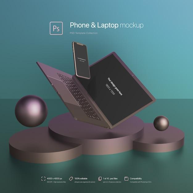 휴대 전화 및 노트북 추상 장면 이랑 비행 무료 PSD 파일