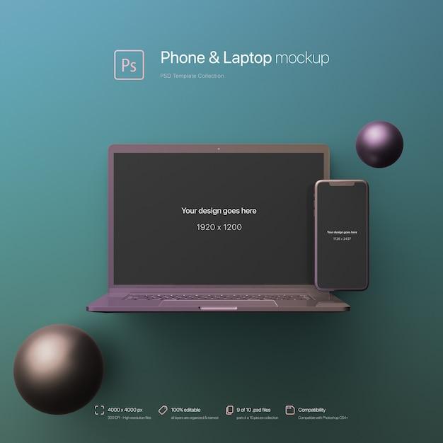 Телефон и ноутбук стоят в абстрактной среде макет Бесплатные Psd