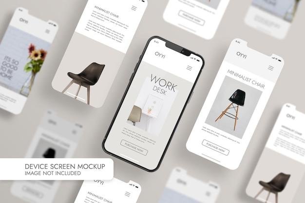 전화 및 화면-ui Ux 앱 프레젠테이션 목업 프리미엄 PSD 파일
