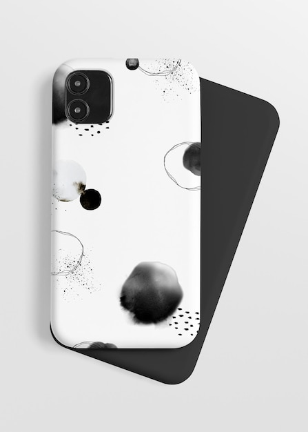 Phone case mockup with ink brush pattern Free Psd