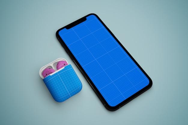 Phone  & earphone mockup Premium Psd