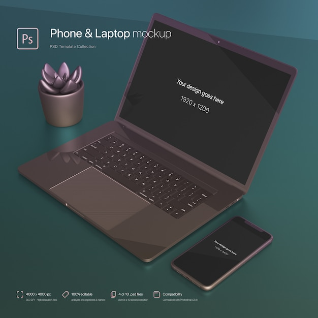 Phone and laptop setting over an abstract desktop mockup Free Psd