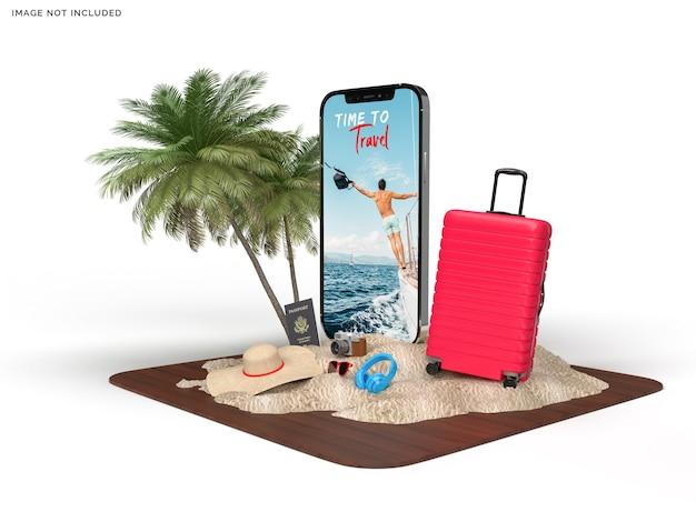 旅行者用アクセサリー付きの電話モックアップとスーツケース Premium Psd