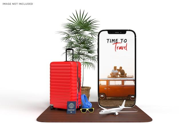 旅行者の飛行機の付属品が付いている電話のモックアップおよびスーツケース Premium Psd