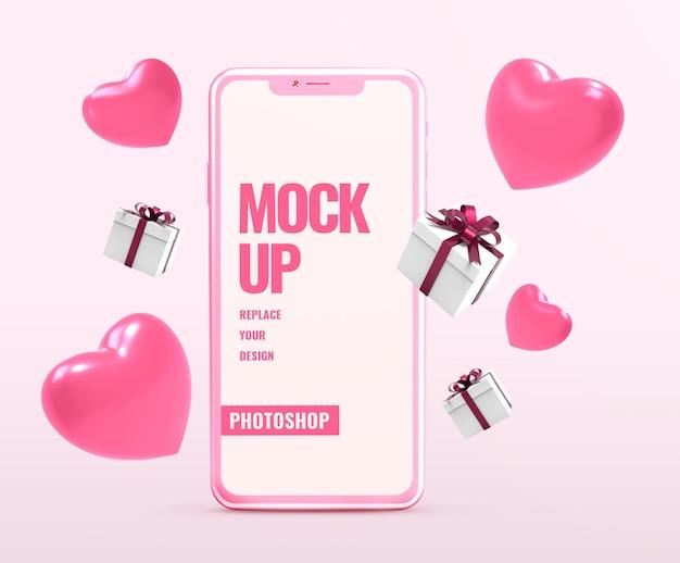 심장 모양 발렌타인을위한 전화 모형 프리미엄 PSD 파일