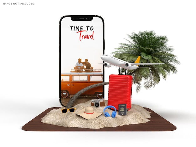 Phone mockup and suitcase with traveler accessories Premium Psd