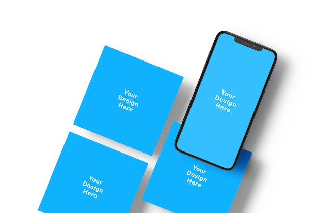Phone screen mockup and square banners Premium Psd
