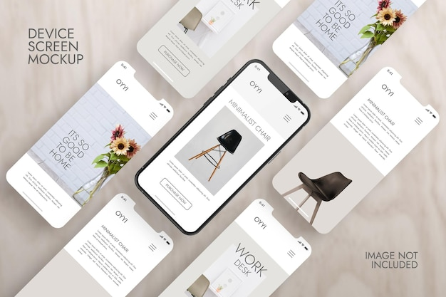 Telefono e schermo - mockup di presentazione dell'app ui ux Psd Gratuite