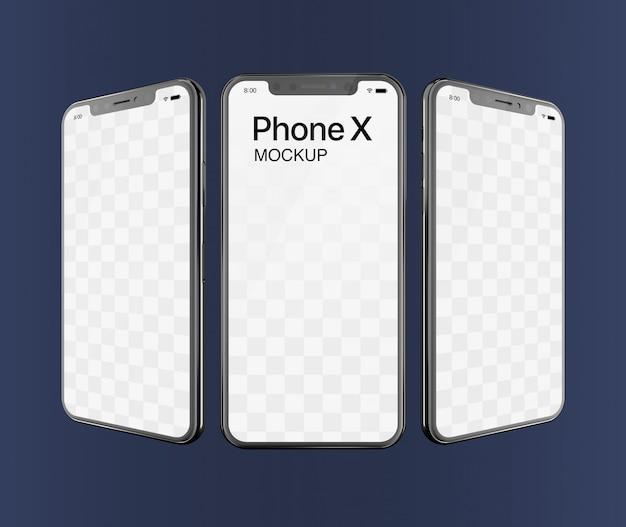 Phone x mockup triple screen Premium Psd