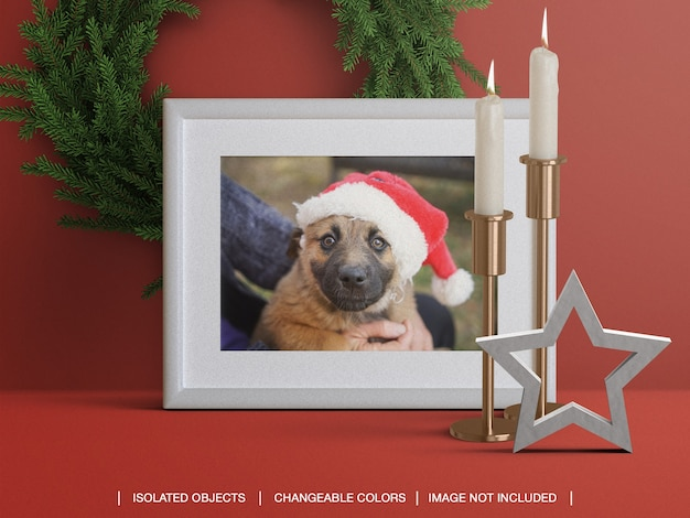 촛불 크리스마스 화환 장식으로 휴가를위한 사진 카드 프레임 모형 프리미엄 PSD 파일