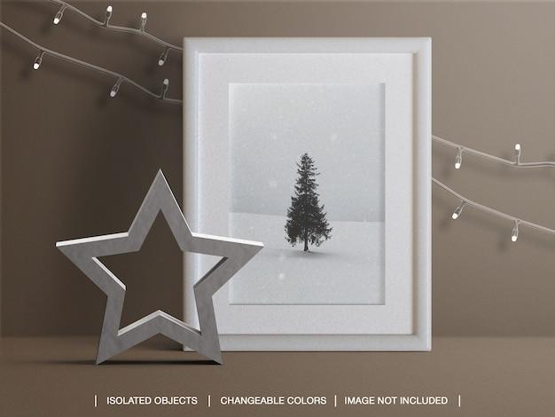 크리스마스 조명과 장식으로 휴가를 보낼 사진 카드 프레임 모형 프리미엄 PSD 파일