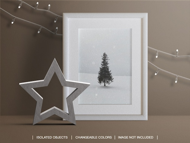 Photo card frame mockup for holiday with christmas lights and decoration Premium Psd