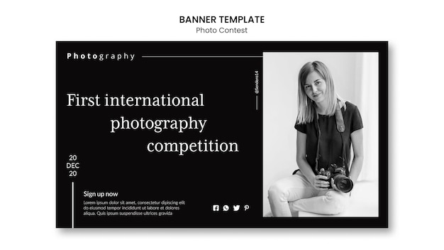 Photo competition banner template Free Psd