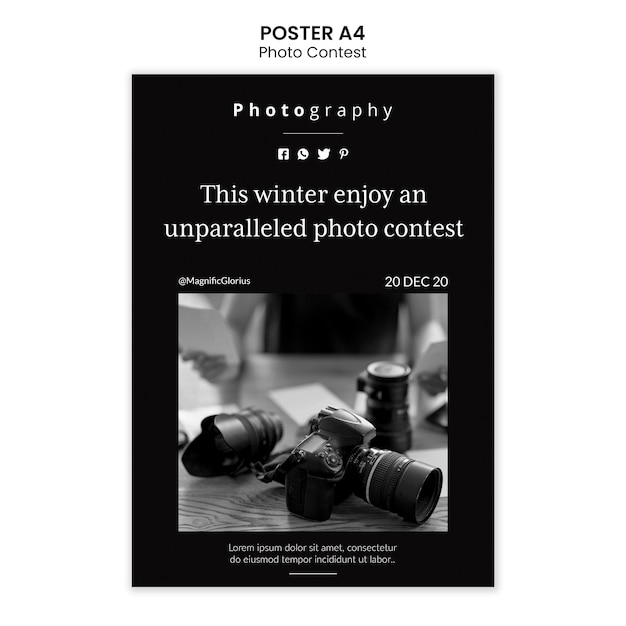 Photo competition poster template style Free Psd