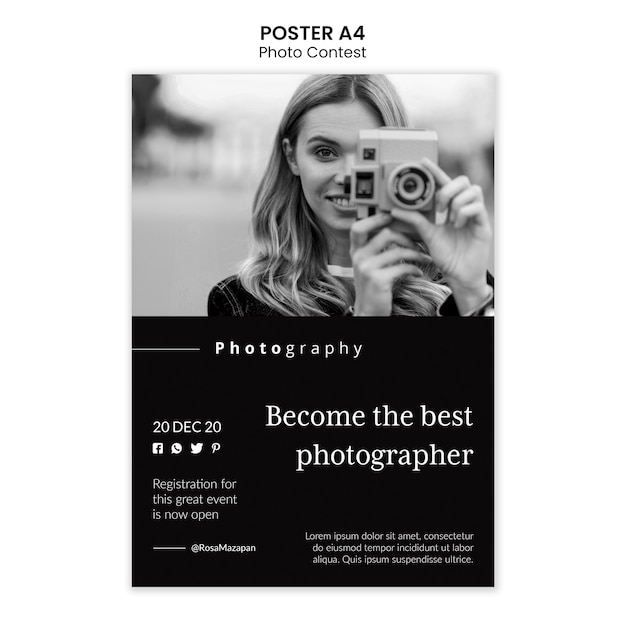 Photo competition poster template Free Psd