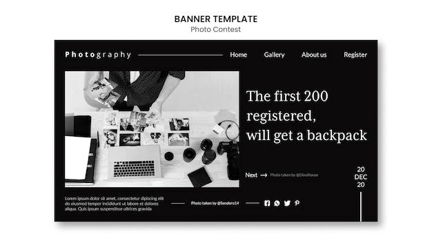 Photo contest banner template Free Psd