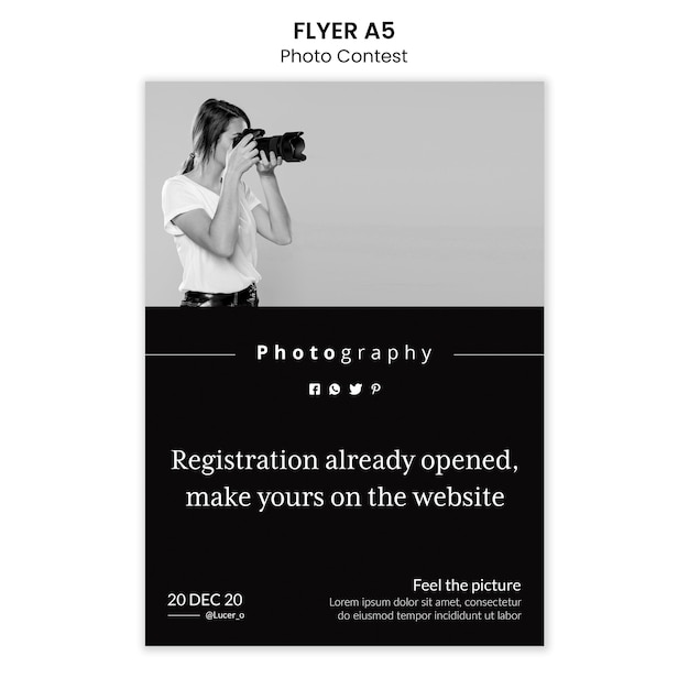 Photo contest flyer template design Free Psd