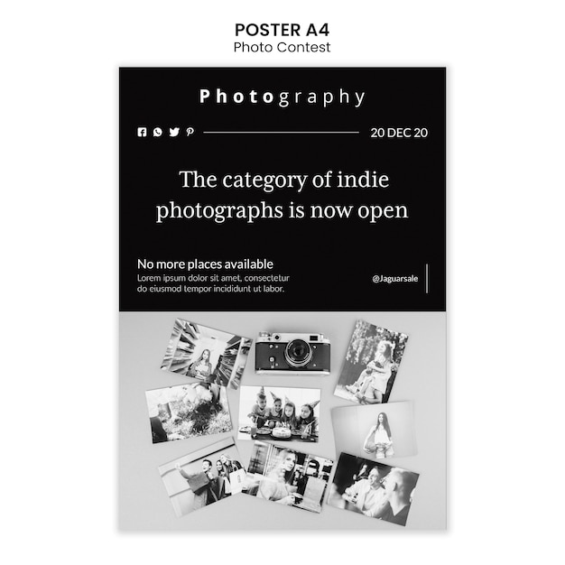 Photo contest poster template design Free Psd