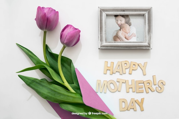 Photo frame and rose for mothers day PSD file | Free Download