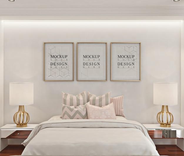 白いモダンなベッドルームのフォトフレームモックアップ Premium Psd