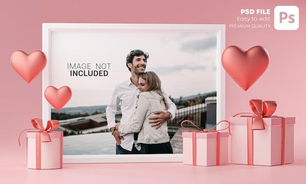 Шаблон макета фоторамки love heart ballon and gift box Premium Psd