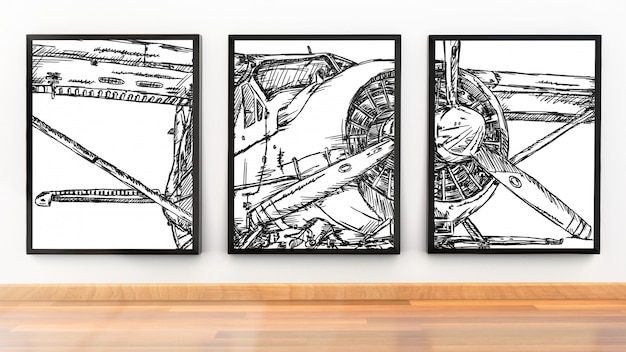 Photo frame mockup of three picture frames in modern room Premium Psd