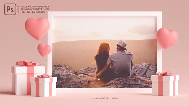 Макет фоторамки с сердечками, любовью и подарками на день святого валентина в 3d-рендеринге Premium Psd